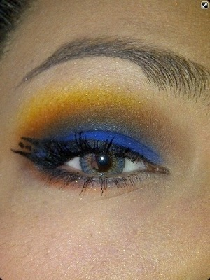 """Very bold look, used """"Royal Sugar"""" """"Flamepoint"""" and """"Buttercupcake"""" by Sugarpill along with a brown."""