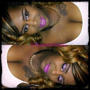 I used the Amrezy Palette w/ LitCosmetics Glitter in Pink. Lips are Heroine by Mac. Follow my Beauty Journey @dapaintedcanvas...?