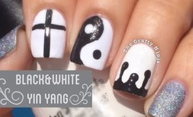 Black and White Yin Yang Cross Drip Nails by The Crafty Ninja