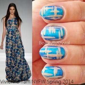 For a list of products, tools and technique: http://www.beautybykrystal.com/2013/09/nyfw-inspired-nails-vivienne-tam-spring.html