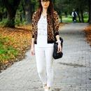 Contrast Trimming Leopard Print Jacket
