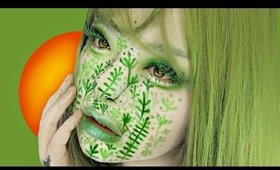 FULL FACE USING ONLY GREEN MAKEUP CHALLENGE 🌿
