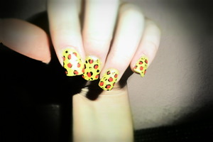 intended to be cheetah print, turned out more like spots. haha