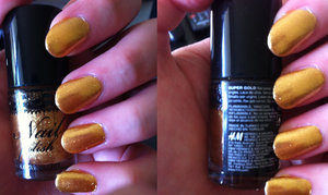 "Miss Sporty Base and Top Coat    Pretty:perfect Nail drying spray   H&M Nail Polish in ""Super Gold"""