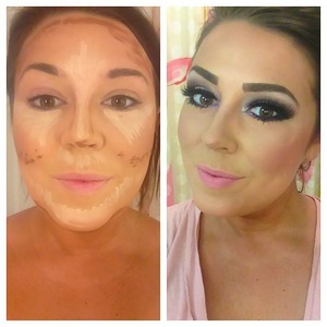 Left: Contouring using Nars Radiant Creamy Concealer / Right: Blended with Beauty Blender