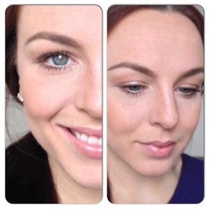Golden Shimmer eyes/neutral lip gloss/peach cheeks
