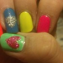Neon skittles w/ glitter hearts