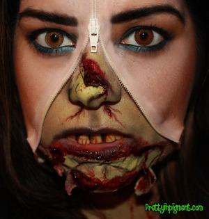 This is the first look of my Halloween 2012 makeup series. Check out my blog for full product listing as wel as a step-by-step tutorial! http://prettyinpigment.blogspot.com/2012/09/halloween2012-unzipped-gory-zombie.html