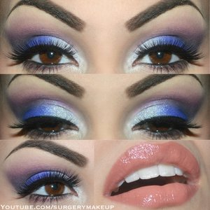 Intense purple make up with a bright inner corner and nude lips.