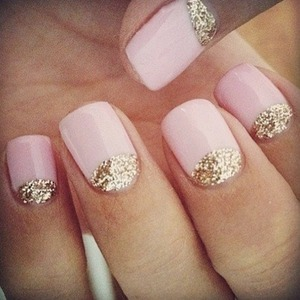 Love this!!! Light pink polish with gold sparkles over cuticle section on nails