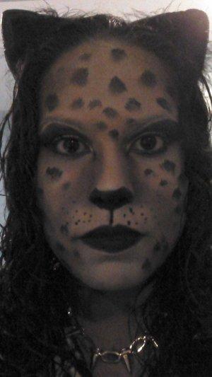 leopard done with mehron paradise palette, black liquid liner and random eyeshadows