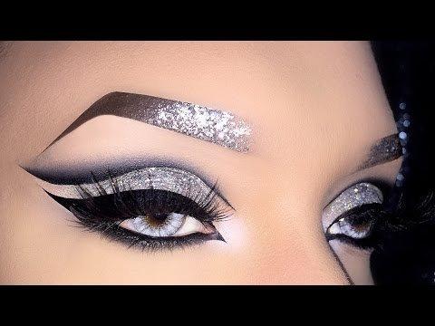 Silver smokey cat eyes + black matte lips // bold makeup tutorial.