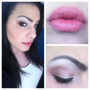 Simple white and brown shimmery smokey eye and pink lips.
