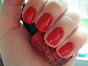 OPI Big Red Apple  To read my review of the polish please visit my blog:  www.mazmakeup.blogspot.com