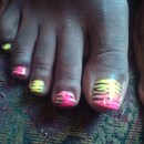 Multi-colored animal print right foot