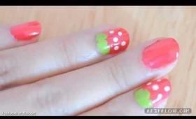 Kawaii Strawberry / Ichigo nail art tutorial