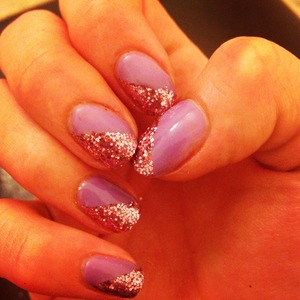 Lilac Longing shellac with rose pedals glitter   Lasted 3 weeks!