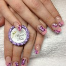 pink tips with one stroke flowers and butterflies