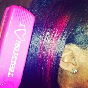 Freshly flat ironed Hot Pink Greatness! Feat bleached foils (20V dev.) with Paul Mitchell Ink Works in Magenta.