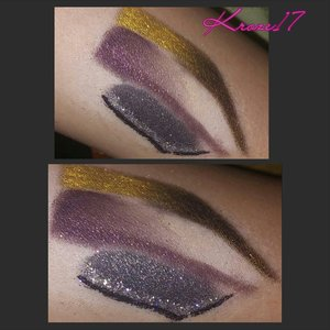 80's Invasion!  Preview of tomorrow's look! Whose excited? !  Colored brows,glitter liner, and some of my favorite shadows!  Details in tomorrow post. Stay tuned Dolls. :) #Makeup #Cosmetics #glam #beauty #makeuplook #Beautyshot #instamakeup #instabeauty #glitter #purple #coloredbrows #gold #80s #kroze17