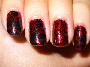 I love the intensity and look of Ruby Pumps by China Glaze but it makes me feel so promiscuous whenever I wear it alone because it's such a flashy red color. I feel like Hester Prynne from the Scarlet Letter. ;~; so I put it under black. I must say I love how this turned out!
