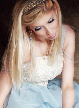 Junkyard Princess photoshoot with baby blue eyes and light pink lips
