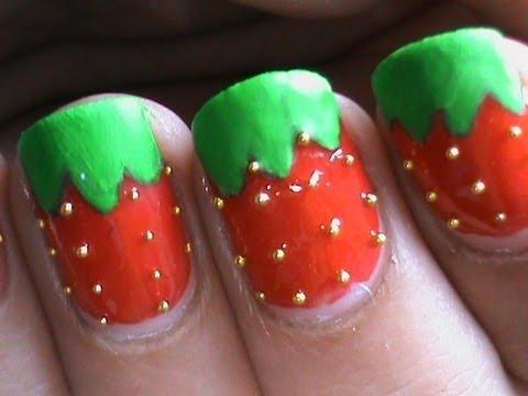 Glossy Matt Strawberry Nail Art Designs Easy Youtube Do It