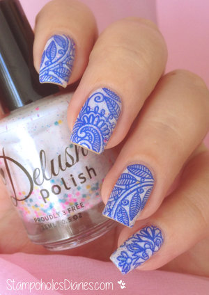 http://stampoholicsdiaries.com/2015/03/23/delush-polish-cirque-fantastique-and-stamping-plate-mj-xxxiv/