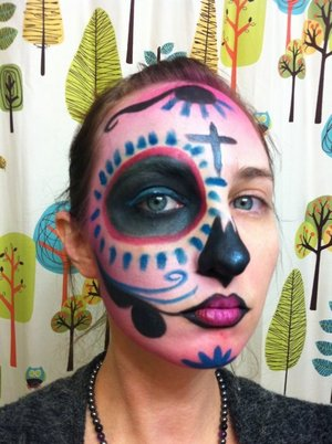 Experimenting with what I want to do in regards to my calavera makeup.  Liking this with the pink :)