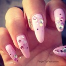 Pink nails with rhinestone tutorial
