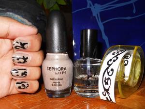 Nail Art Using Temporary Tattoo Tape.