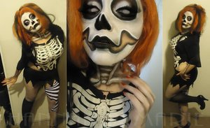 The makeup up close, for Miss Bone-Jangles.