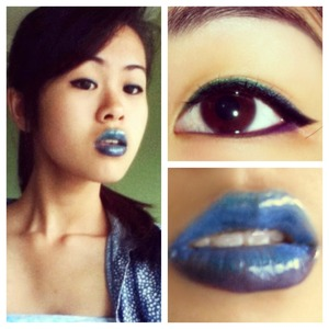Colorful green, blue, and purple eyeliner with blue and purple ombre lips.