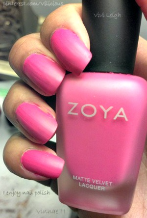 Zoya Lolly is a bold, medium magenta pink cream with a velvety matte finish.