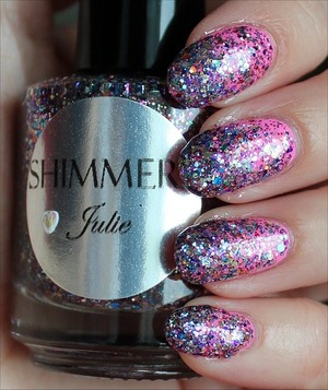 Click here for my in-depth review and more swatches: http://www.swatchandlearn.com/shimmer-julie-swatches-review-gradient-glitter-over-china-glaze-bottoms-up/