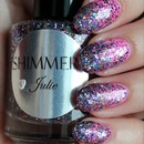Shimmer Julie (Gradient Glitter Layered Over China Glaze Bottoms Up)