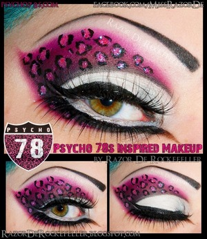 Full face version of my The Psycho 78's Roller Derby inspired makeup!  I used Tako, Bulletproof, and Dollipop from Sugarpill Cosmetics to create this look!  Check out the blog post here:  http://razorderockefeller.blogspot.com/2013/04/psycho-78s-inspired-makeup.html