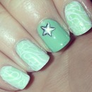Mint Green Stamping Mani
