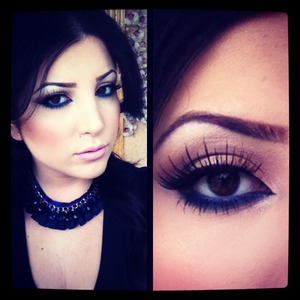A fun neutral smokey eye with blue on the lower lash line as a pop of color! :)