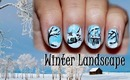 Winter Landscape Nail Design (for short nails) - Day 6