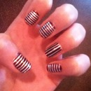 purple and silver striped nails
