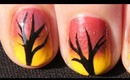 Quick and Easy Autumn Tree Nail Art Tutorial - Fall Nails