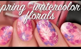 """Spring """"Watercolor"""" Florals (Using Nail Polish) 