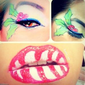 Candy cane lips and mistletoe eyeshadow