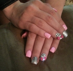 pink bow with zebra print and silver nails
