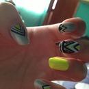 Tribal neon nails