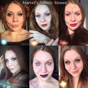 The Infinity Stones, UNITED. http://theyeballqueen.blogspot.com/2017/03/marvels-infinity-stones-inspired-makeup.html