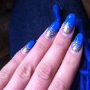 nails blue gold sparkles