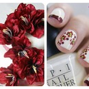 burgundy tips & flowers