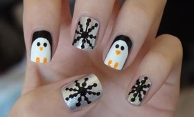 Easy Snow Penguin Nails!